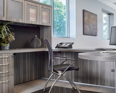 Seen here is Denver Glass Interiors Moltin Glass Chair Mat in a standard bronze tint.