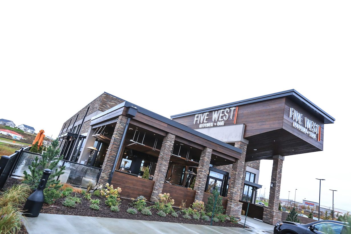 The exterior of Five West Kitchen + Bar.