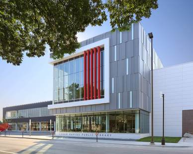 The new 94,000 sf Cedar Rapids Public Library not only features a striking modern exterior design but also includes a 200-seat auditorium, offices, conference rooms, stack area, green roof, and a coffee shop.