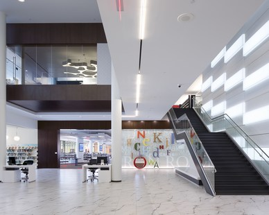 Unique lighting fixtures and applications were designed around prominent features of the building, including the cascading, interactive LED panels located in the main lobby of the Cedar Rapids Public Library.