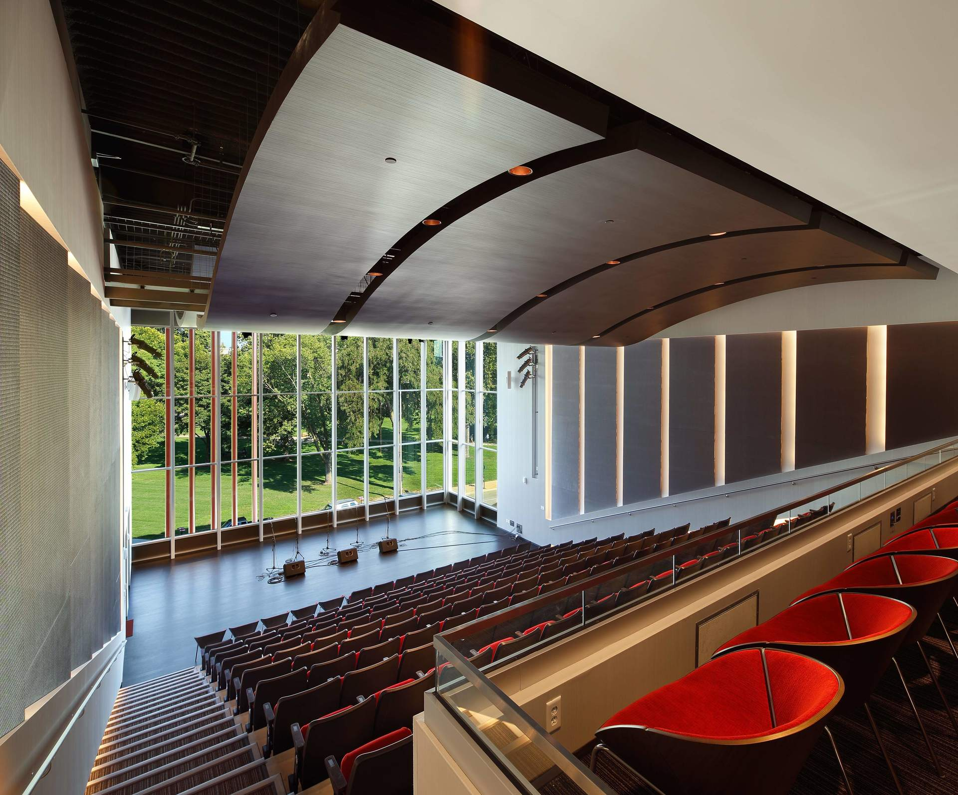 Single-zone displacement ventilation systems serve the 200-seat auditorium in the new Cedar Rapids Public Library.