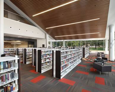 Modern digitally-controlled high-efficiency lighting can be found throughout the new Cedar Rapids Public Library space.