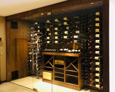 Denver Glass interiors created this beautiful Glass Wine Cellar.