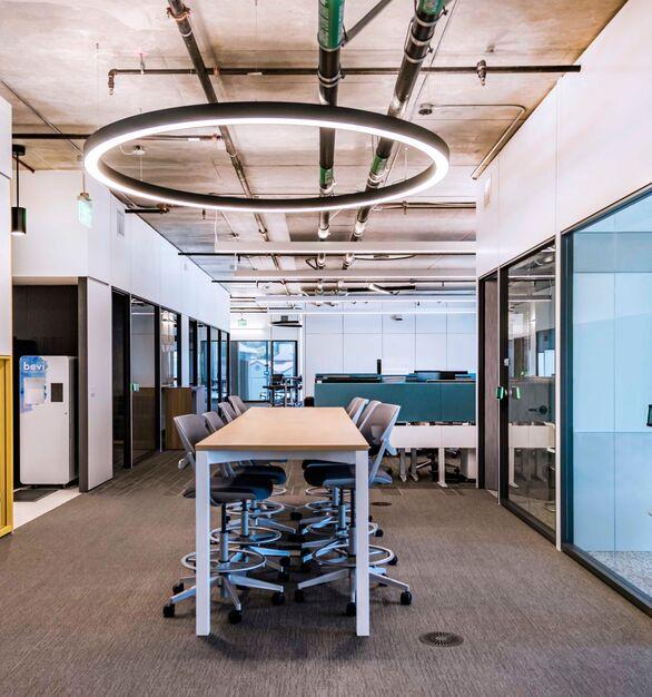 Berkeley Artificial Intelligence Research Lab photo showing an open area built using DIRTT custom modular interior solutions.
