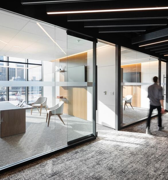 Kiewit Headquarters photo showing a private office built using DIRTT custom modular interior solutions.  Photo courtesy of HDR © 2021 Dan Schwalm