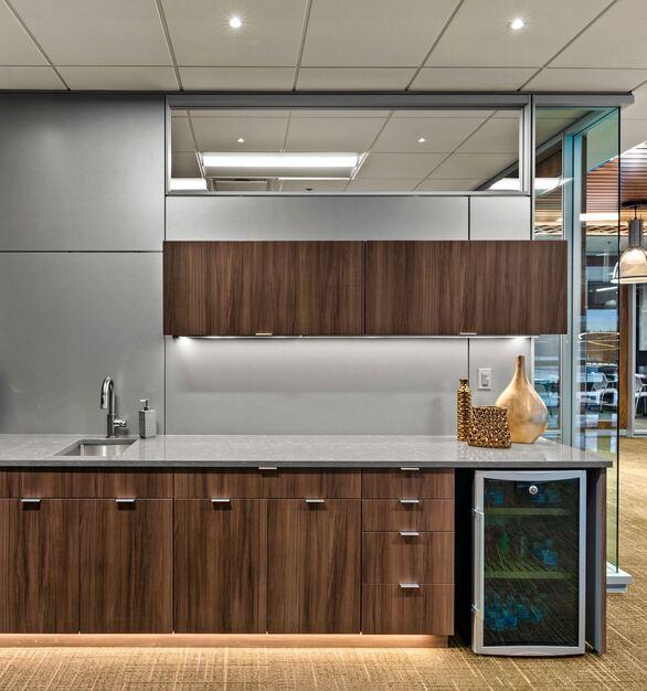 PKG Contracting photo showing a java station using DIRTT custom modular interior solutions.