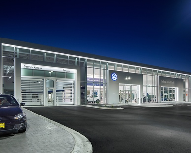 Exterior of Luther Brookdale Volkswagen in Brooklyn Center, MN by D.J. Kranz as the general contractor.
