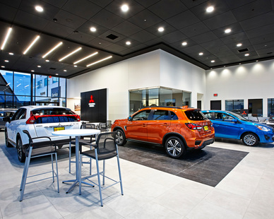 The Mitsubishi showroom at the dual, Luther Mazda Mitsubishi Dealership, in Brooklyn Center, Minnesota. Constructed by D.J. Kranz