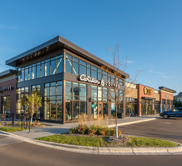 DJR Architecture Cobblestreet Market Apple Valley Minnesota Caribou Coffee Retail Store Shop Branding and Exterior Design