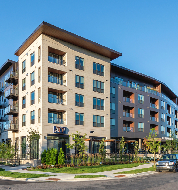 The exterior design and finish of the Parkway 25 Luxury Apartments in St. Louis Park, MN, accentuates the style and theme represented throughout the building.