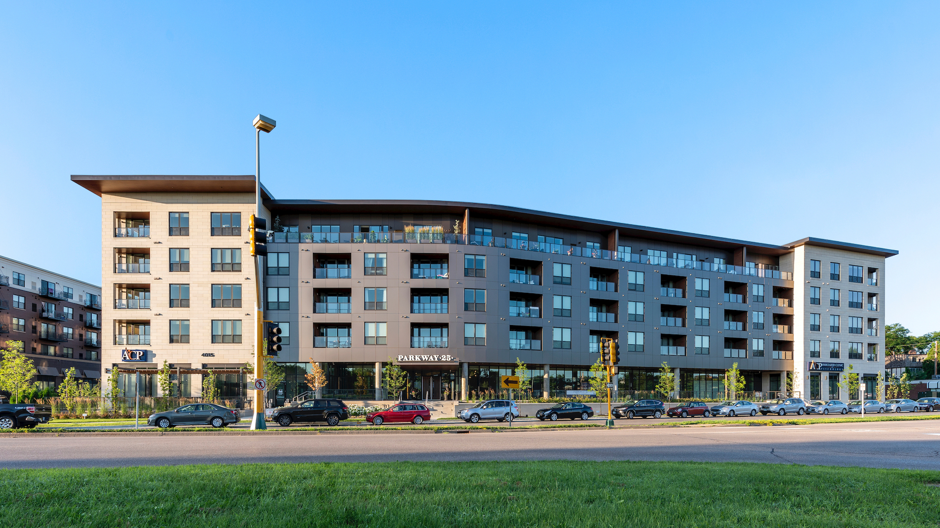 The facade and exterior finish at Parkway 25 Luxury Apartments in St. Louis Park, MN.