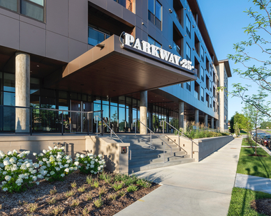 The main guest entrance at Park 25 in St. Louis Park, MN, by DJR Architecture.