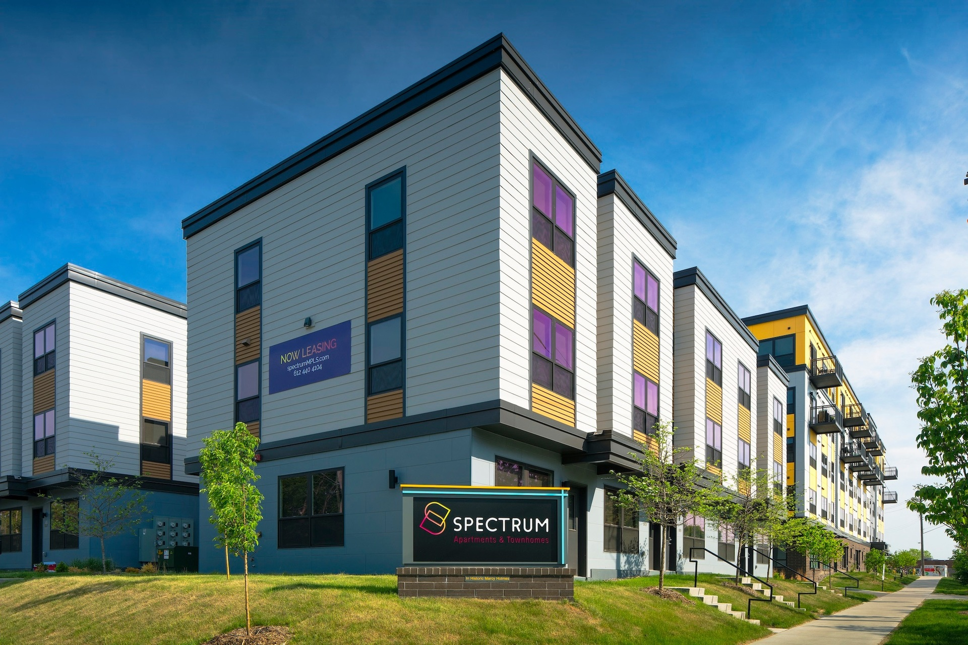 A splash of color gives a distinctive look to the Spectrum apartments exterior design at Minneapolis, Minnesota, by DJR Architecture.