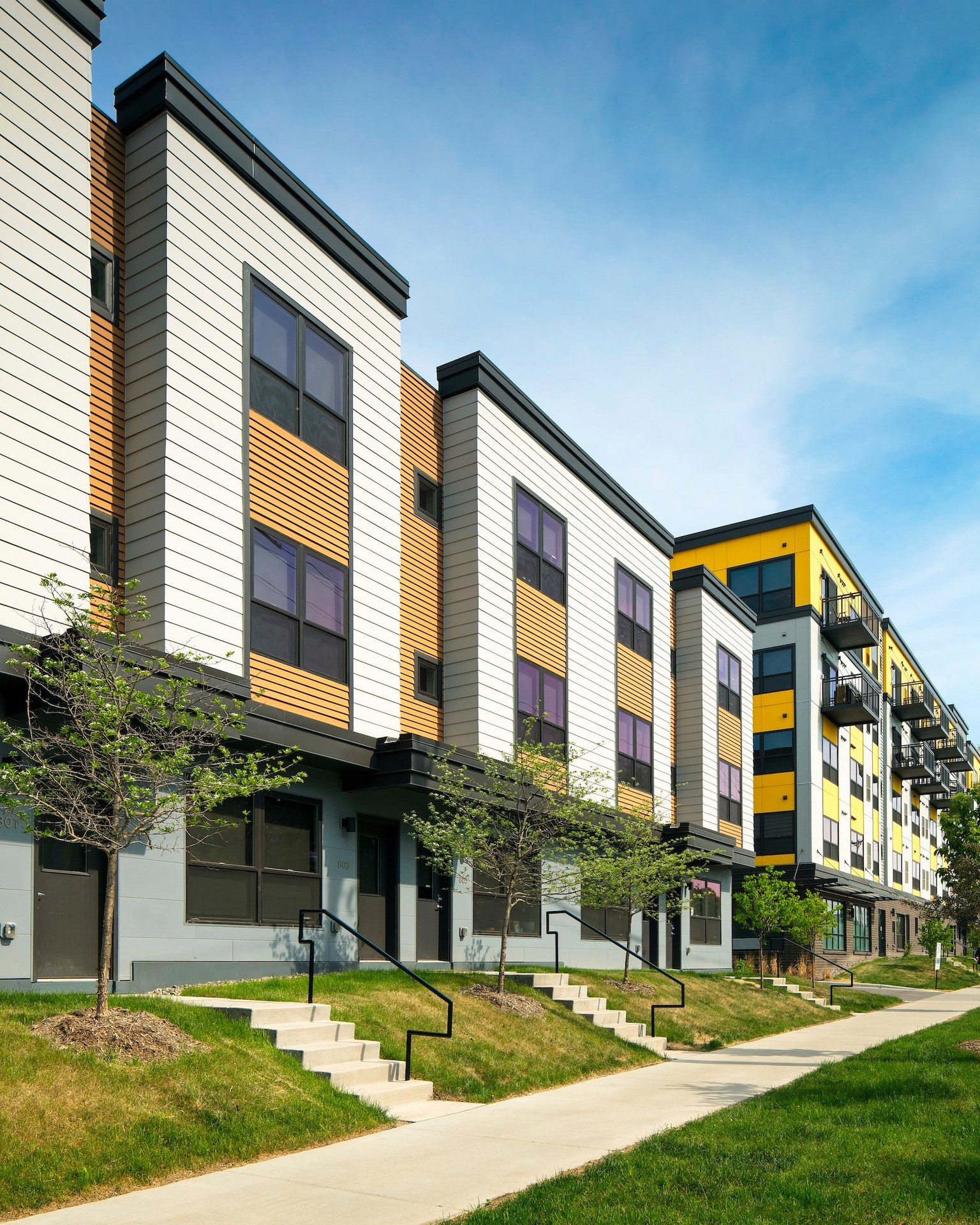 A simple and modern exterior design at the Spectrum apartments in Minneapolis, Minnesota, by DJR Architecture.
