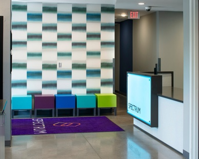 The reception area design at the Spectrum apartments in Minneapolis, Minnesota, by DJR Architecture.