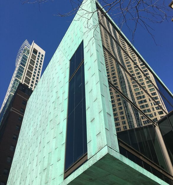 Fully developed copper patina as seen on exterior copper aged 30 or more years. DLSS Manufacturing used their historic finish on the exterior of the Fourth Presbyterian Church in Chicago, Illinois.