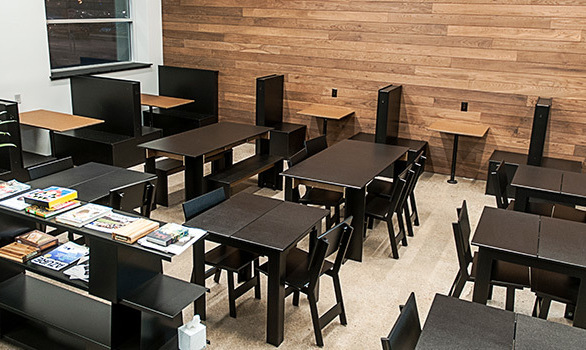 The Emin Dining Chairs by Loll Designs are a great fit for this modernly designed cafe.