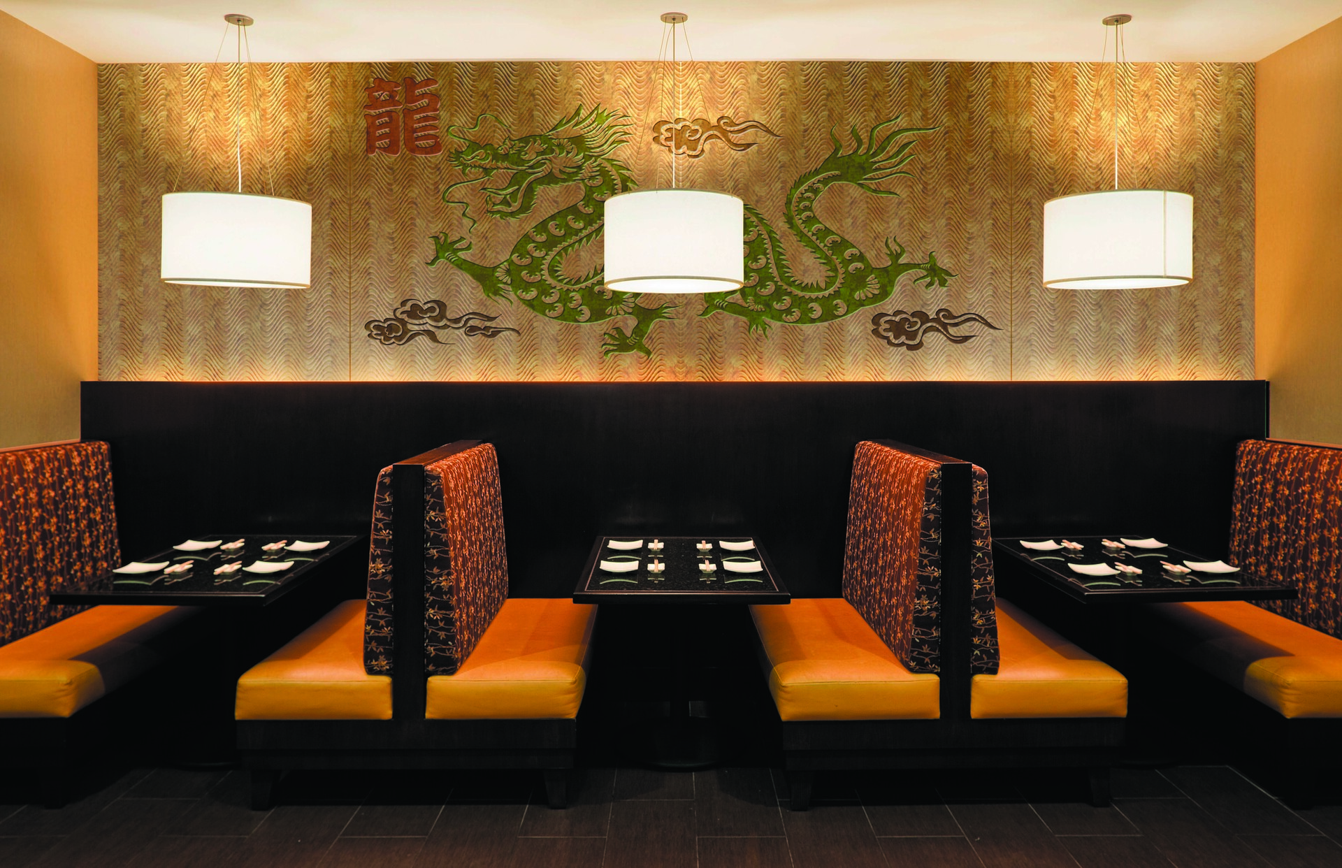 Add beauty and life to any wall--this restaurant has a dragon graphic to create the perfect interior design.  Fusion can elevate your brand or personalize your home on any budget. By combining our ever-expanding line of graphics or your own artwork with our more than a dozen substrate options, you can make a unique, custom design perfect for your business or home.   You can use Fusion for such applications as wall art, divider panels, displays, and large format murals allowing you to stand out from the crowd. Your imagination is the limit!