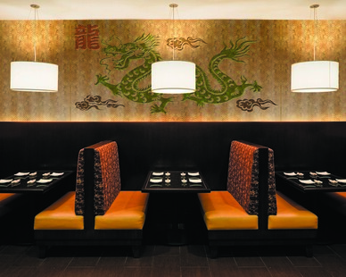 Add beauty and life to any wall--this restaurant has a dragon graphic to create the perfect interior design.