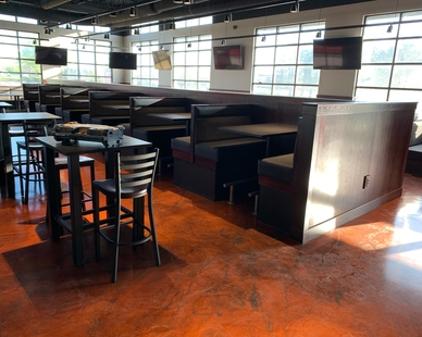 Dras Cases provided eye catching and functional millwork at Black Rock Bar & Grill in Beavercreek, OH.