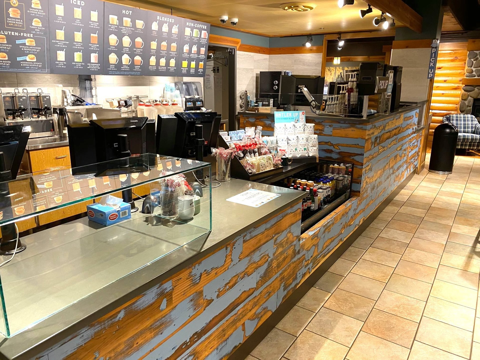 Dras Cases Caribou Coffee Shop Disstressed Service Counter Design