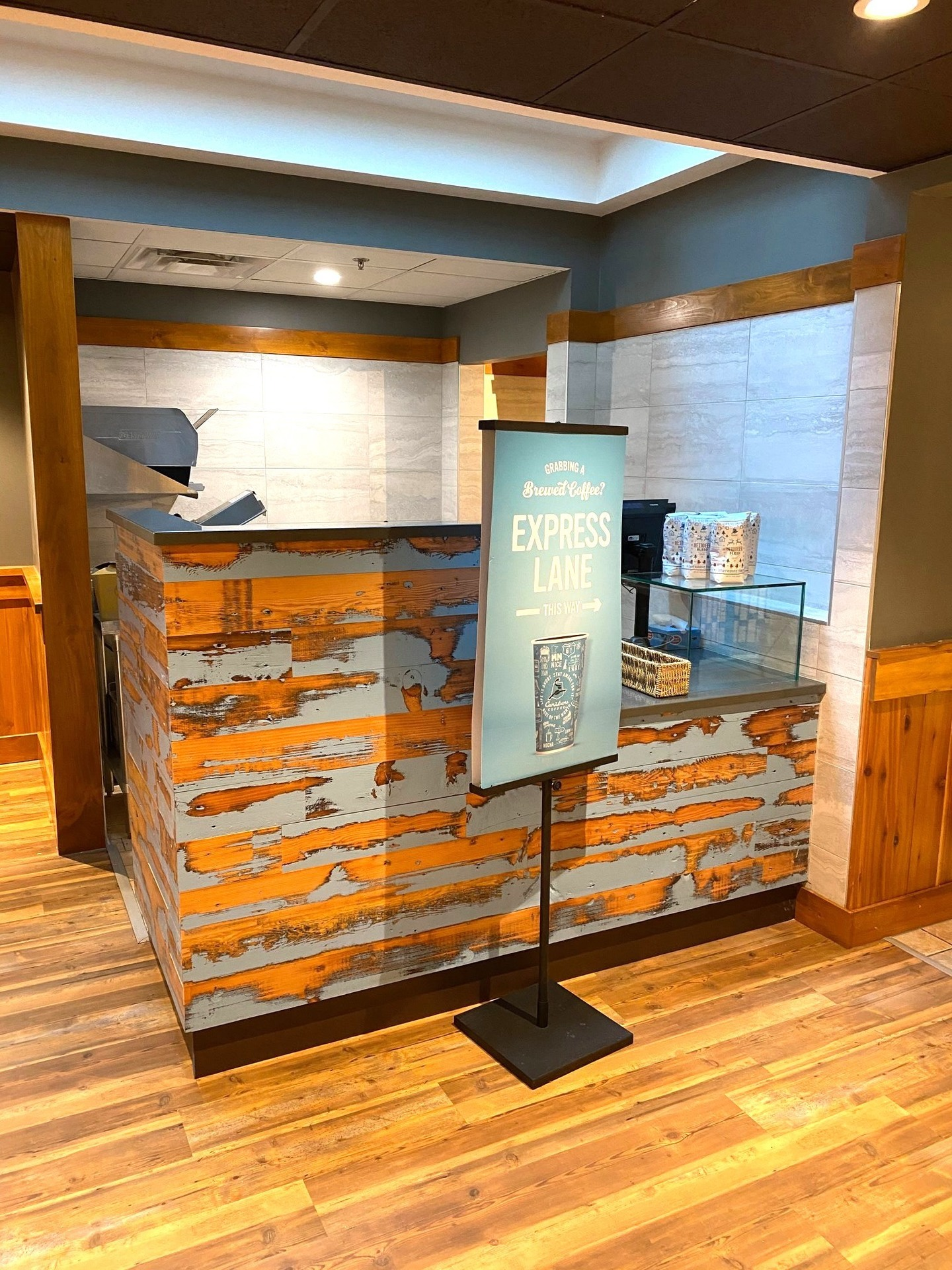 Dras Cases Caribou Coffee Shop Distressed Architectural Millwork Finish