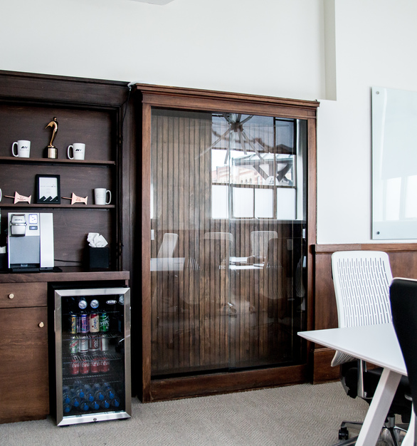 Dras Cases provided the custom built-in unit for the coffee station in the Main Conference room at Mortarr HQ.
