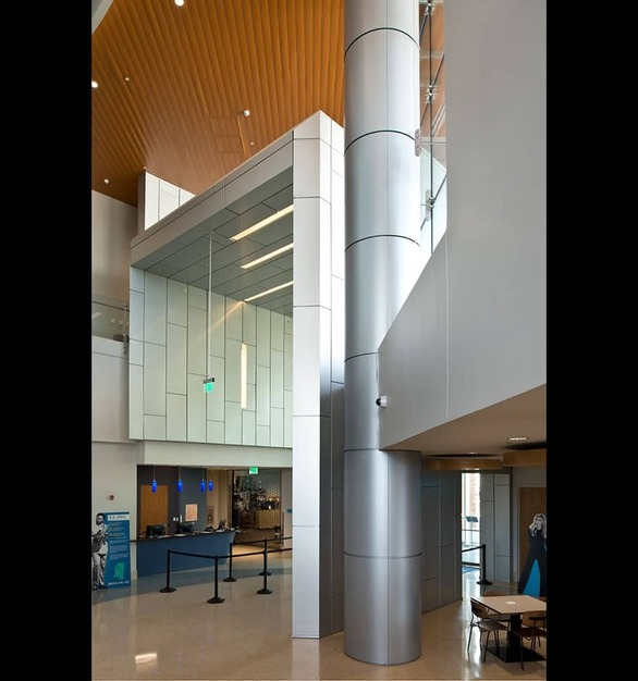 Dri-Design used their gorgeous panels to create a feature statement Wall in the Mississippi Arts building.