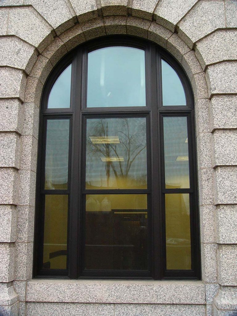 In 2011 during the lobby renovation, the tall, arched windows and large, upper rectangular windows were restored with St. Cloud Window historic 2500 Series and 5000 Series windows. The scope of our involvement included 857 total windows.