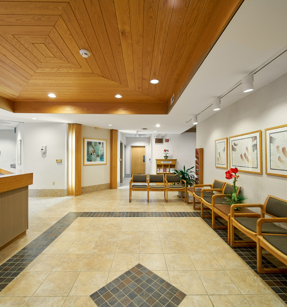 Vinyl wallcovering protected with DuPont™ Tedlar® film, produced by Fidelity Wallcovering, Inc., is used in all high-traffic areas at Omega Medical Center.