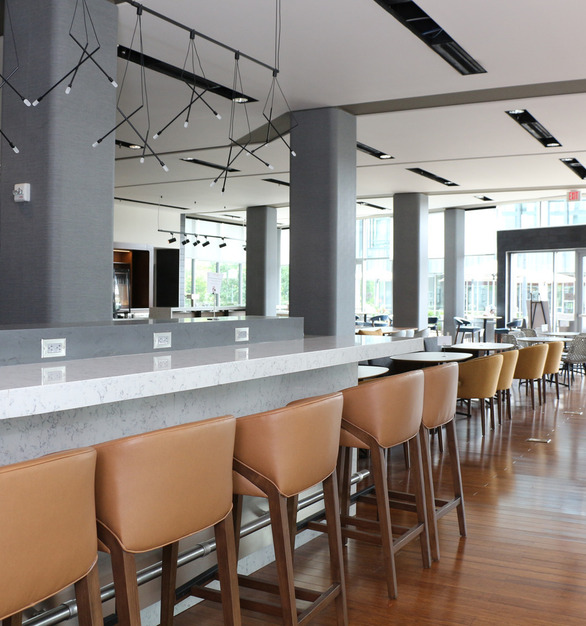 Tedlar® Wallcoverings, Mod Linen pattern graces the columns in this bar area of Courtyard Marriott at Philadelphia South at The Navy Yard.