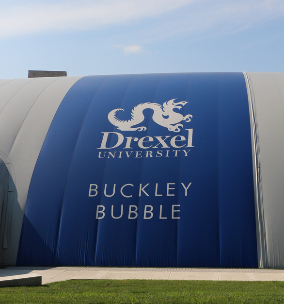 School branding and colors are featured on the Buckley bubble field enclosure protected by DuPont™ Tedlar® PVF protective film.