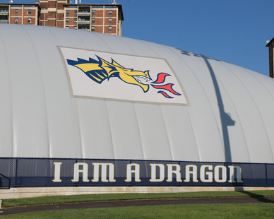 DuPont Tedlar Wallcovering Film Drexel University Vidas Athletic Field Inflatable Dome Exterior Protective Film and Branding