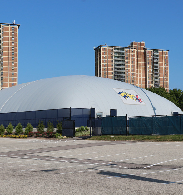 DuPont Tedlar Wallcovering Film Drexel University Vidas Athletic Field Inflatable Dome Exterior Protective Film and Parking Entrance