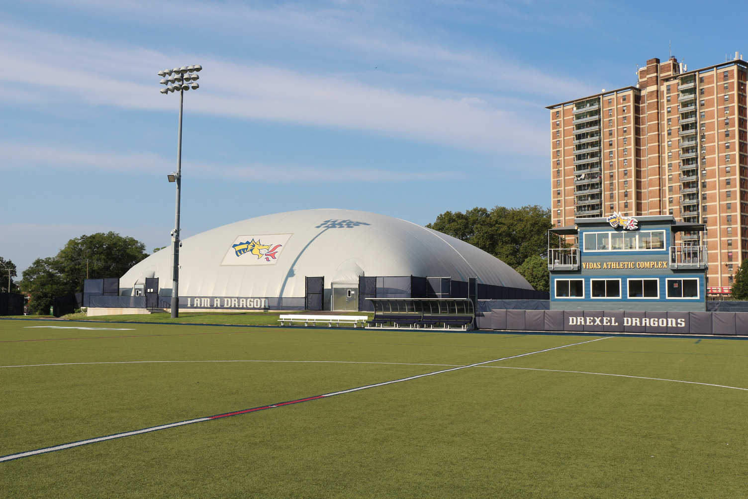 DuPont Tedlar Wallcovering Film Drexel University Vidas Athletic Field Inflatable Dome Exterior Protective Film Outdoor Field View
