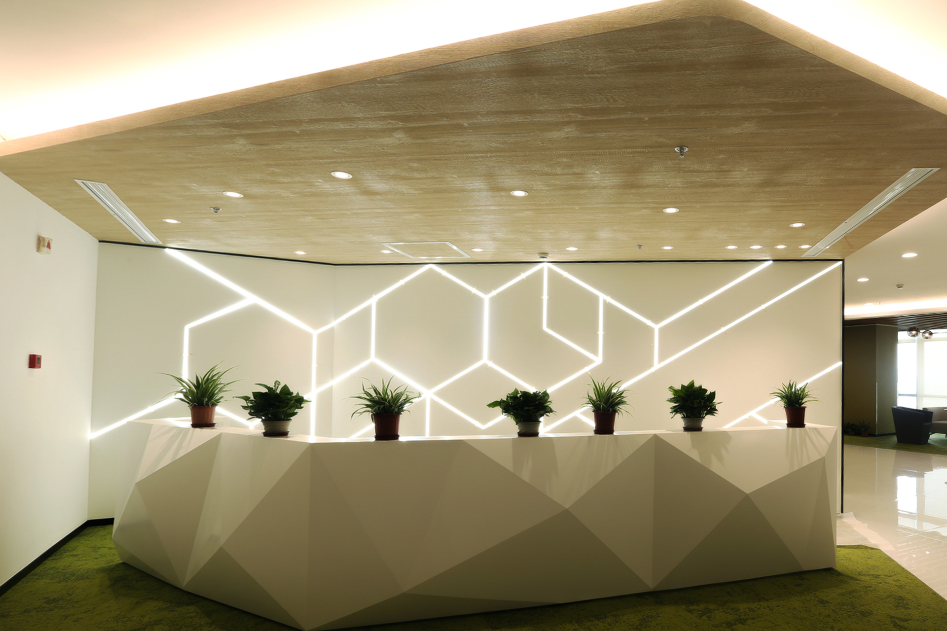 The reception area desk features in-wall LED lighting for a uniquely eye-catching display for guests and visitors.