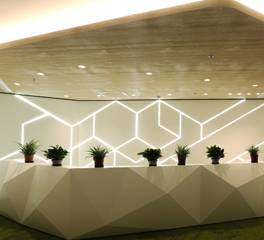 DuPont Tedlar Wallcoverings Corteva Corporate Office Reception Desk Lighting and Suspended Wall