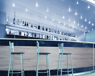 Durasein's solid surface material is incredibly durable and a great option for a busy bar.