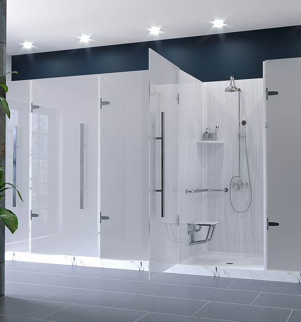 These shower stalls are using Durasein's solid surface material in the color Luna.