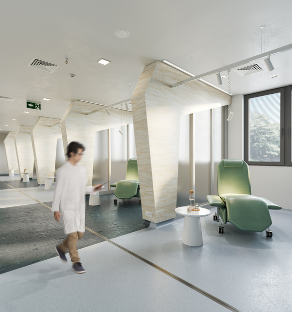 Seen here is Durasein's Lively Collection in Weathered Wood for this hospital space.