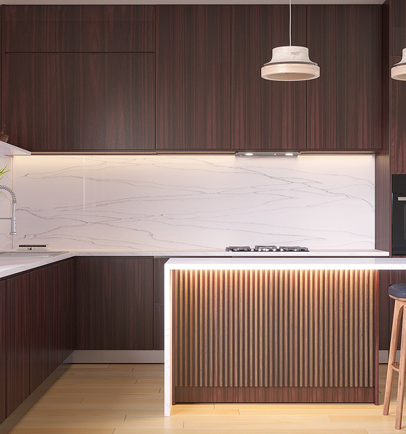 Durasein's solid surface is the perfect material for any space, seen here in Light Haze for this kitchen countertop.