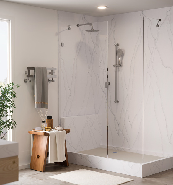 Durasein's solid surface material in Light Haze used for this shower space.