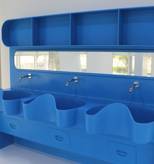 Durasein also creates custom, unique products. Seen here is a custom washbasin in sea blue.