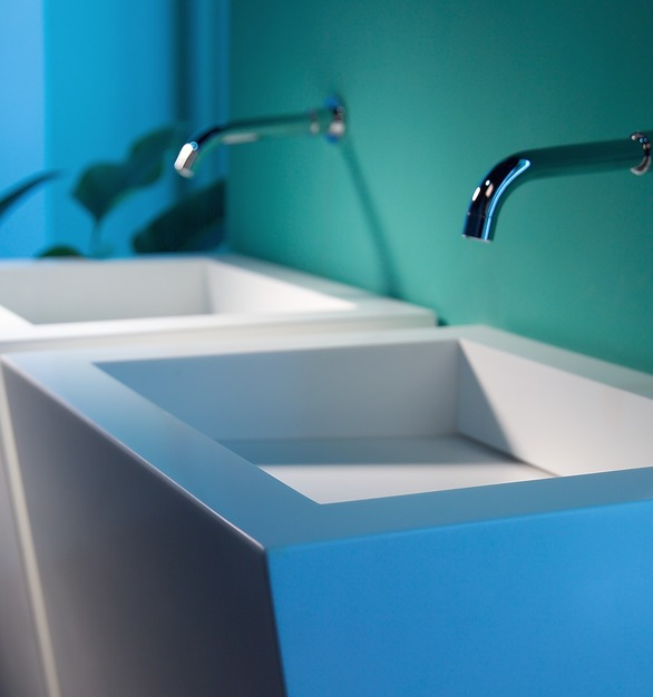 Double custom sinks with Durasein's solid surface material.