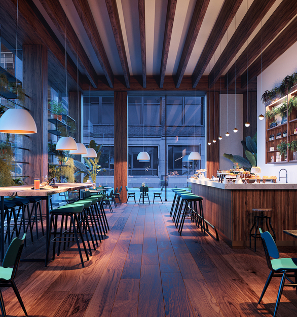 At dusk, the cafe and lounge space makes use of different hanging lights- hanging pendant lighting and shade lighting.