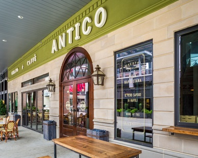 Exterior of the Antico restaurant showcases the beautiful Tuscan Veneer by Dutch Quality Stone in Tan.
