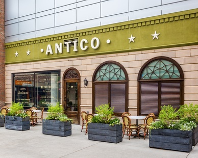 Dutch Quality Stone provided their Tuscan Veneer in tan for the exterior of this Antico restaurant.