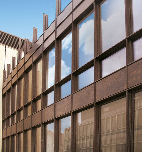 The stunning contemporary designed façade was created using Astec's ABX Architectural Bronze technology in its construction. Astec Architectural Bronze is located in Brooklyn, New York.