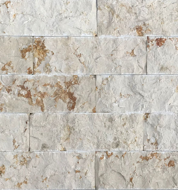 The Galala Limestone Veneers by Earth Surfaces are light cream colored with hints of ginger.