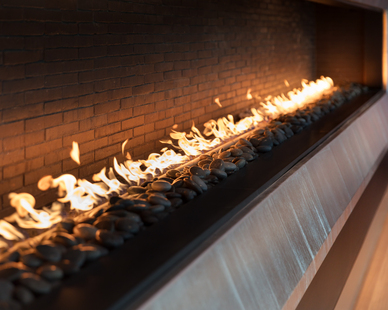 The Balthazar Cellars in Houston, Texas used products from Earthcore for their fireplaces which are a focal point within this space.